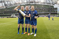 May 27, 2018 - Dublin, Ireland - Dan Leavy, Rory O'Loughlin and James Tracey of Leinster celebrate with the Guinness PRO14 trophy during the Guinness PRO14 Final match between Leinster Rugby and Scarlets at Aviva Stadium in Dublin, Ireland on May 26, 2018  (Credit Image: © Andrew Surma/NurPhoto via ZUMA Press)