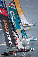 Image licensed to Lloyd Images<br /> The Extreme Sailing Series 2015. Act4 - Cardiff.UK<br /> Fleet in Cardiff Bay<br /> Credit: Lloyd Images