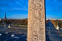 France, Paris (75), place de la Concorde, détail de l'obelisque de Louxor, zone classée Patrimoine Mondial de l'UNESCO // France, Paris (75), place de la Concorde, area classified as World Heritage by UNESCO