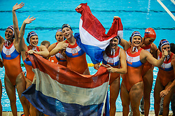 The Dutch water polo women win the gold medal by beating USA in the final on August 21, 2008 in Beijing