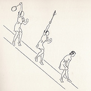 overhead reach illustrations from Lawn Tennis. May I Introduce you? How to play tennis book by Evelyn Dewhurst with sketches by Aubrey Weber. Published in London by Sir Isaac Pitman & Sons in 1940