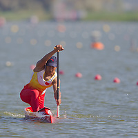 Liang Fuyan from China paddles during the C1 men Canoe 500m pleriminary of the 2011 ICF World Canoe Sprint Championships held in Szeged, Hungary on August 19, 2011. ATTILA VOLGYI