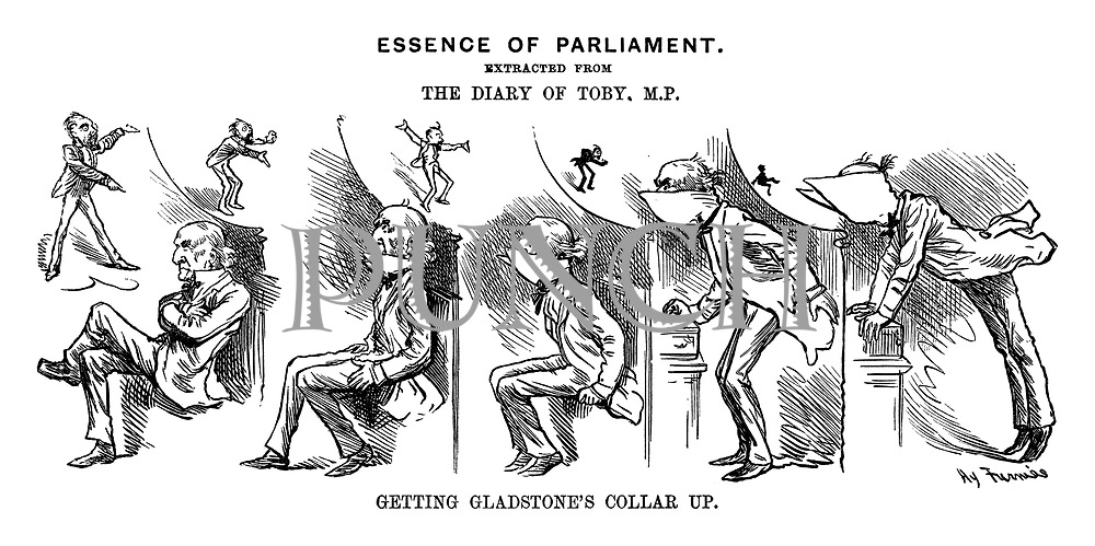 Essence of Parliament, Extracted from The Diary of Toby, MP. Getting Gladstone's Collar Up.