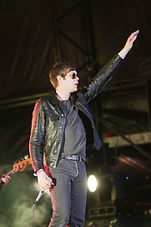 Tom Meighan on the main stage as Kasabian headline the Friday night..RockNess 2011, the annual music festival which takes place in Scotland at Clune Farm, Dores, on the banks of Loch Ness near Inverness..Pic ©2011 Michael Schofield. All Rights Reserved..