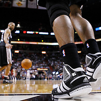 17 January 2012: Close view of Tim Duncan sneakers during the Miami Heat 120-98 victory over the San Antonio Spurs at the AmericanAirlines Arena, Miami, Florida, USA.