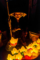 Street vendors selling paper lanterns, Hoi An Full Moon Lantern Festival, Hoi An, Vietnam.