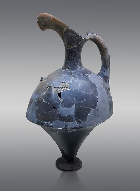 Hittite spouted pitcher, Hittite capital Hattusa, Hittite  Middle  Kingdom 1650-1450 BC, Bogazkale archaeological Museum, Turkey. grey background