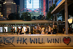 Hong Kong. 4th October 2019. Pro-democracy demonstrations and march at night in Central district of Hong Kong.