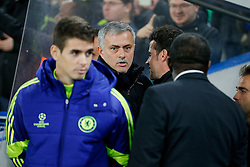 Chelsea Manager Jose Mourinho looks on as Sporting Manager Marco Silva (to the right) taks to him before the match - Photo mandatory by-line: Rogan Thomson/JMP - 07966 386802 - 10/12/2014 - SPORT - FOOTBALL - London, England - Stamford Bridge - Sporting Clube de Portugal - UEFA Champions League Group G.