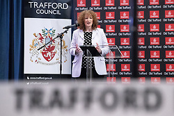 © Licensed to London News Pictures . 03/05/2018. Trafford, UK. Returning Officer THERESA GRANT addresses the hall ahead of the Trafford Council count at The Point at Lancashire County Cricket Club . The Labour Party are looking to overturn the Conservative Party's majority on the council . Local council elections are taking place across the country . Photo credit: Joel Goodman/LNP
