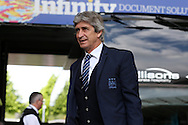 Manchester city manager Manuel Pellegrini arrives at the stadium before the match. Barclays Premier league match, Swansea city v Manchester city at the Liberty Stadium in Swansea, South Wales on Sunday 15th May 2016.<br /> pic by Andrew Orchard, Andrew Orchard sports photography.