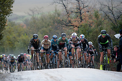 The leaders: L to R Hannah Barnes, Ashleigh Moolman Pasio, Elisa Longo Borghini, Juliette Labous - at Strade Bianche - Elite Women 2018 - a 136 km road race on March 3, 2018, starting and finishing in Siena, Italy. (Photo by Sean Robinson/Velofocus.com)