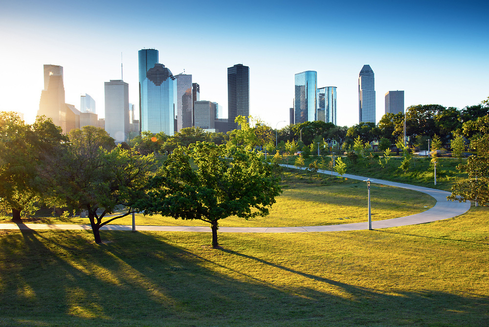 Buffalo Bayou Park offers downtown Houston a green oasis for recreation and beautiful views of the skyline.