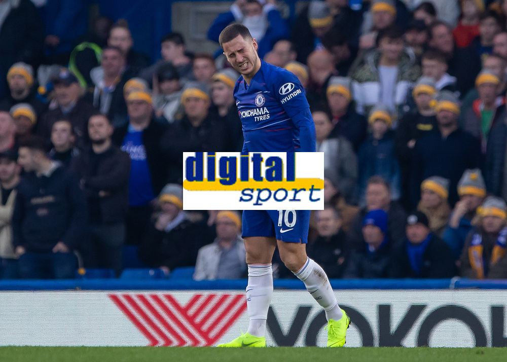Football - 2018 / 2019 Premier League - Chelsea vs. Leicester City<br /> <br /> After getting to his feet Eden Hazard (Chelsea FC) winces with pain at Stamford Bridge <br /> <br /> COLORSPORT/DANIEL BEARHAM