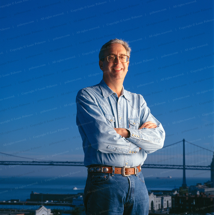 Rober Haas, Chairman and Chief Executive Officer of Levi Strauss & Co. on top of the roof of corporate headquarters in downtown San Francisco.  He is great-great-grandnephew the company's founder, Levi Strauss.