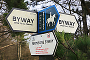 Byway and bridlepath access signs on signpost, Salisbury Plain, Wiltshire, England, UK