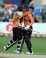 Cricket - 2019 Women's Cricket Kia Super League - Semi-Final: Loughborough Lightning vs. Southern Vipers<br /> <br /> Paige Scholfield and Amanda - Jade Wellington of Southern Vipers, celebrate getting the winning runs, at County Cricket Ground, Hove.<br /> <br /> COLORSPORT/ANDREW COWIE