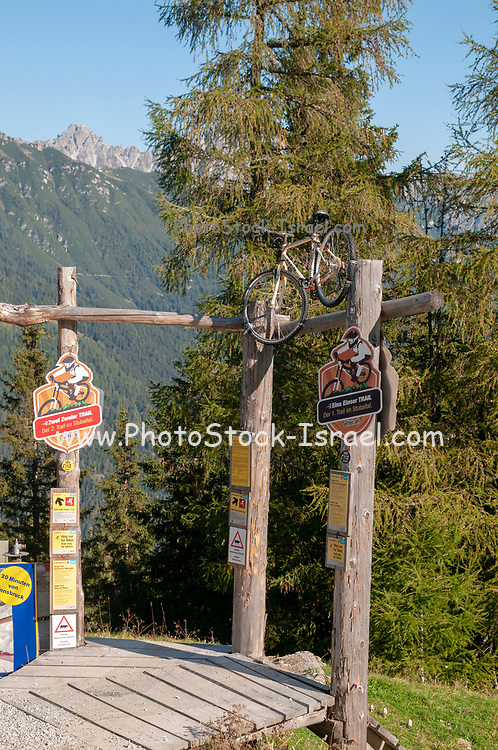 single trail, a downhill bicycle trail from the summit of Elfer mountain down to Neustift im Stubaital, Tyrol, Austria