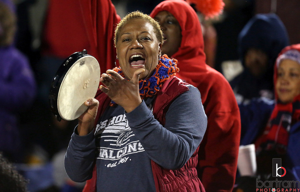 Bishop Dunne fans cheer during the TAPPS Division I state championship game on Saturday, Dec. 3, 2016 at Panther Stadium in Hewitt, Texas. Bishop Lynch High School won 21-17. (Photo by Kevin Bartram)
