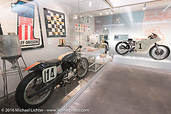 1952 Harley-Davidson KRTT racer that was campaigned by Cal Rayborn with the number 14 plates in the recently installed racing display at the Harley-Davidson Museum during the Milwaukee Rally. Milwaukee, WI, USA. Saturday, September 3, 2016. Photography ©2016 Michael Lichter.