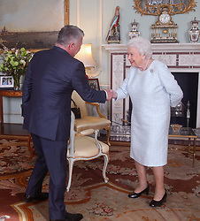 Queen Elizabeth II greets King Abdullah II of Jordan, during a private audience at Buckingham Palace, London.