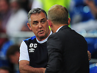 Blackburn Rovers manager Owen Coyle shakes hands with Cardiff City Head Coach Paul Trollope<br /> <br /> Photographer Kevin Barnes/CameraSport<br /> <br /> Football - The EFL Sky Bet Championship - Cardiff City v Blackburn Rovers - Wednesday 17th August 2016 - Cardiff City Stadium - Cardiff<br /> <br /> World Copyright © 2016 CameraSport. All rights reserved. 43 Linden Ave. Countesthorpe. Leicester. England. LE8 5PG - Tel: +44 (0) 116 277 4147 - admin@camerasport.com - www.camerasport.com