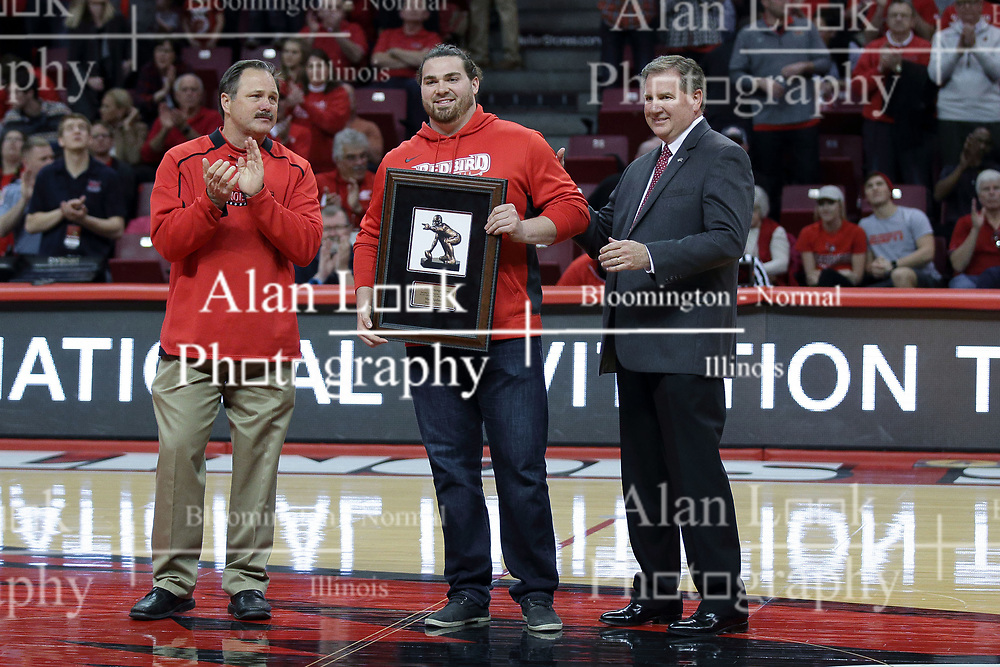 20 March 2017:  Brock Spack, Mark Spelman and Larry Lyons during a College NIT (National Invitational Tournament) 2nd round mens basketball game between the UCF (University of Central Florida) Knights and Illinois State Redbirds in  Redbird Arena, Normal IL