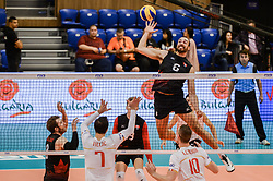 June 17, 2018 - Varna, Bulgaria - Justin Duff, Canada play the ball against France, during Mens Volleyball Nations League, VNL, match between France and Canada at Palace of Culture and Sport in Varna, Bulgaria on June 17, 2018  (Credit Image: © Hristo Rusev/NurPhoto via ZUMA Press)