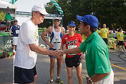 Joan Samuelson, Beach to Beacon 10K race founder , Joan Benoit Samuelson , Olympic Gold Medalist Frank Shorter , Dave MacGillivray , greets Leon Gorman, Chairman of LL Bean