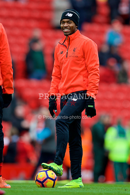 LIVERPOOL, ENGLAND - Sunday, November 6, 2016: Liverpool's Daniel Sturridge warms-up before the FA Premier League match against Watford at Anfield. (Pic by David Rawcliffe/Propaganda)
