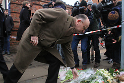 French Interior Minister Bernard Cazeneuve lays flowers in front of at the cultural center Krudttoenden, where a man was killed and three police officer were wounded, in Copenhagen, Feb. 15, 2015. Copenhagen's police director Thorkild Fogde said at a press conference that the police have identified the alleged offender, who was killed by police early Sunday morning in the Noerrebro neighborhood in Copenhagen. EXPA Pictures © 2015, PhotoCredit: EXPA/ Photoshot/ Shi Shouhe<br /> <br /> *****ATTENTION - for AUT, SLO, CRO, SRB, BIH, MAZ only*****