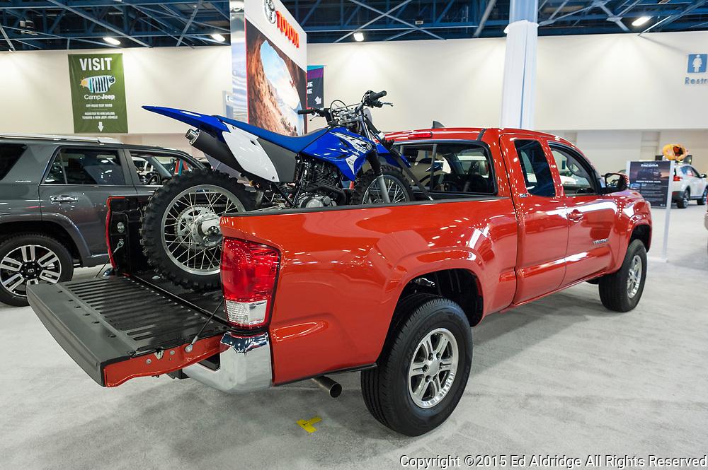 MIAMI BEACH, FL, USA - NOVEMBER 6, 2015:  Toyota Tacoma on display during the 2015 Miami International Auto Show at the Miami Beach Convention Center in downtown Miami Beach.