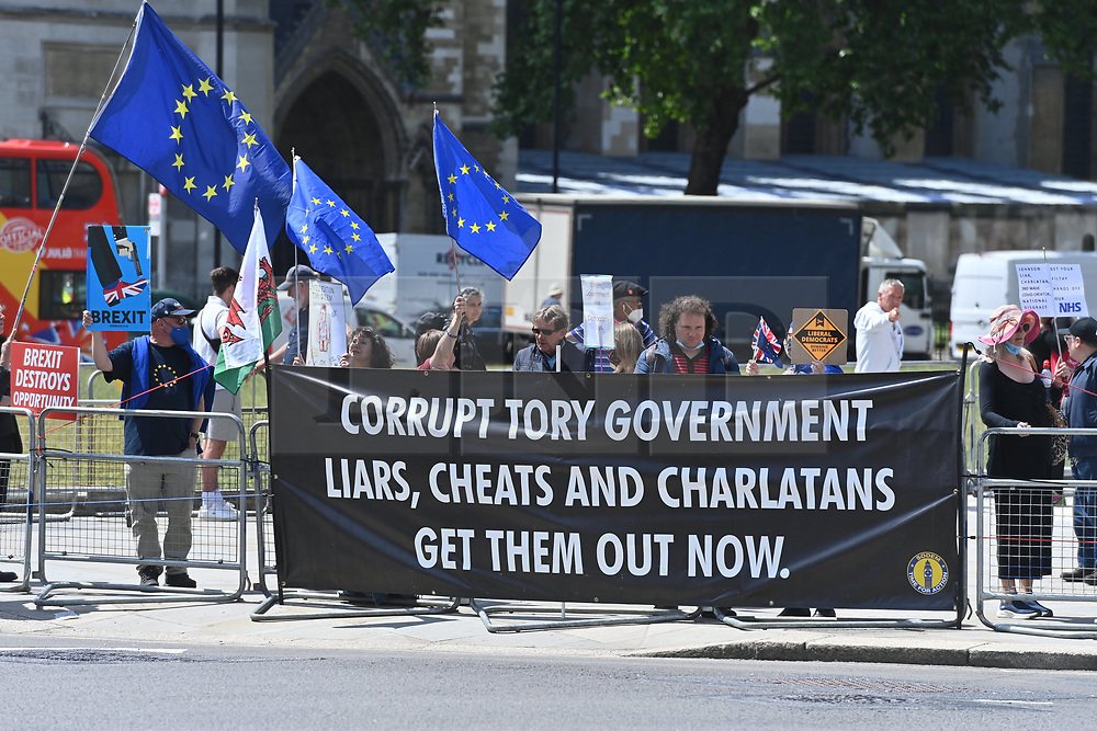 © Licensed to London News Pictures. 23/06/2021. London, UK. Pro European protesters in Westminster mark the 5th Anniversary the UK voted in a referendum to leave the European Union. Photo credit: Ray Tang/LNP
