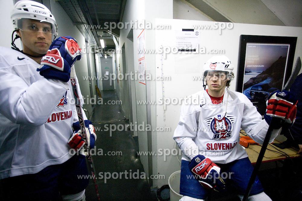 Greg Kuznik and Andrej Hebar at first practice of Slovenian National Ice hockey team before World championship of Division I - group B in Ljubljana, on April 5, 2010, in Hala Tivoli, Ljubljana, Slovenia.  (Photo by Vid Ponikvar / Sportida)