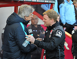 Manchester City Manager Manuel Pellegrini shakes hands with Bournemouth Manager Eddie Howe - Mandatory by-line: Paul Knight/JMP - 02/04/2016 - FOOTBALL - Vitality Stadium - Bournemouth, England - AFC Bournemouth v Manchester City - Barclays Premier League