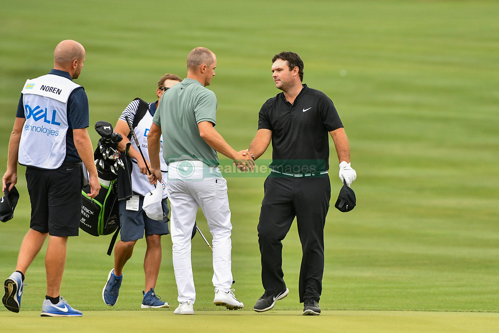 March 24, 2018 - Austin, TX, U.S. - AUSTIN, TX - MARCH 24: Patrick Reed congratulates Alex Noren following the Round of 16 for the WGC-Dell Technologies Match Play on March 24, 2018 at Austin Country Club in Austin, TX. (Photo by Daniel Dunn/Icon Sportswire) (Credit Image: © Daniel Dunn/Icon SMI via ZUMA Press)