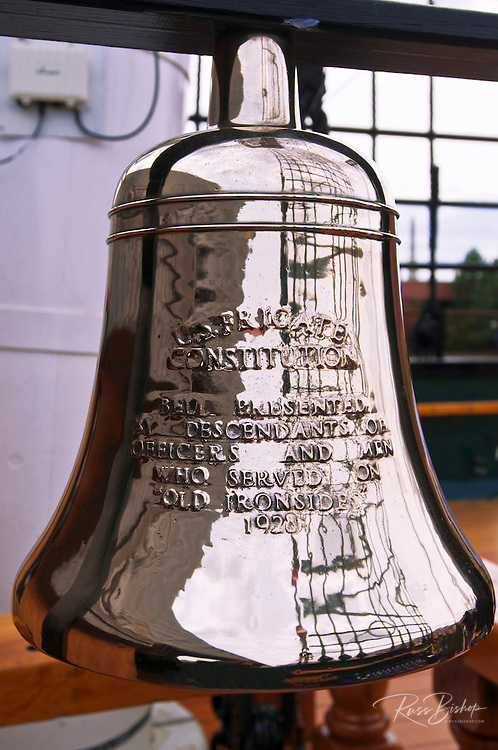 USS Constitution ships bell on the Freedom Trail, Charlestown Navy Yard, Boston, Massachusetts