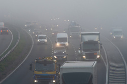 © Licensed to London News Pictures. 05/11/2020.  <br /> Orpington, UK. Foggy driving for motorists on the M25 near Orpington, South East London this morning. Freezing cold foggy weather conditions as temperatures drop to -3 in some parts of the UK. Photo credit:Grant Falvey/LNP