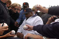 January 18 2017 - File - Among the other 208 people whose sentences Obama commuted San Francisco Giants legend (and cove namesake) WILLIE MCCOVEY. In 1995, McCovey was convicted of avoiding taxes on 0,000 worth of income that he made signing autographs and participating in memorabilia shows. Fellow Hall of Famer Duke Snider was also convicted in the case, and McCovey got two years probation and a ,000 fine. Pictured: Willie McCovey, former San Francisco Giants baseball great signs autographs after the groundbreaking at the new McCovey Point at China Basin Park Tuesday morning across from McCovey Cove and Pac Bell Park.  (Credit Image: © Jose Luis Villegas/Sacramento Bee via ZUMA Wire/ZUMAPRESS.com)