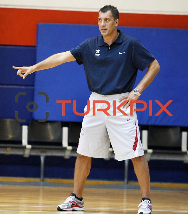 Turkish Basketball team Anadolu Efes's coach Ufuk SARICA during their new season training at Anadolu Efes sports hall in Istanbul Turkey on Monday 22 August 2011. Photo by TURKPIX