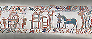 Bayeux Tapestry scene 47:  A house is burnt to clear the way for Williams Army and Duke William gets ready from battle. .<br /> <br /> If you prefer you can also buy from our ALAMY PHOTO LIBRARY  Collection visit : https://www.alamy.com/portfolio/paul-williams-funkystock/bayeux-tapestry-medieval-art.html  if you know the scene number you want enter BXY followed bt the scene no into the SEARCH WITHIN GALLERY box  i.e BYX 22 for scene 22)<br /> <br />  Visit our MEDIEVAL ART PHOTO COLLECTIONS for more   photos  to download or buy as prints https://funkystock.photoshelter.com/gallery-collection/Medieval-Middle-Ages-Art-Artefacts-Antiquities-Pictures-Images-of/C0000YpKXiAHnG2k