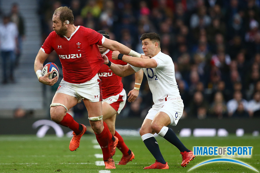 Alun Wyn Jones of Wales shrugs off a challenge from Ben Youngs of England  during the Guinness Six Nations between England and Wales at Twickenham Stadium, Saturday, March 7, 2020, in London, United Kingdom. (Mitchell Gunn-ESPA-Images/Image of Sport)