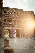 Detail of Porta Nigra, a large Roman city gate in Trier, Germany.