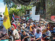 29 SEPTEMBER 2016 - BANGKOK, THAILAND:  Residents of Pom Mahakan blockade the south entrance to the old fort. Forty-four families still live in the Pom Mahakan Fort community. The status of the remaining families is not clear. Bangkok officials are still trying to move them out of the fort and community leaders are barricading themselves in the fort. The residents of the historic fort are joined almost every day by community activists from around Bangkok who support their efforts to stay.    PHOTO BY JACK KURTZ