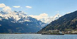 THEMENBILD - das Ausflugsschiff MS Schmittenhoehe vor der Bergkulisse der Hohen Tauern und dem Kitzsteinhorn Gletscher, aufgenommen am 30. April 2016, am Zeller See, Zell am See, Oesterreich // the passenger ship MS Schmittenhoehe ahead of the mountains of the Hohe Tauern and the Glacier Kitzsteinhorn, Zell am See, Austria on 2016/04/30. EXPA Pictures © 2016, PhotoCredit: EXPA/ JFK