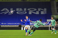 Brighton and Hove Albion midfielder Jakub Moder (15) tackled by Ben Godfrey during the Premier League match between Brighton and Hove Albion and Everton at the American Express Community Stadium, Brighton and Hove, England UK on 12 April 2021.