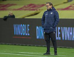 Cheftræner Thomas Thomasberg (Randers FC) under kampen i 3F Superligaen mellem FC Nordsjælland og Randers FC den 19. oktober 2020 i Right to Dream Park, Farum (Foto: Claus Birch).