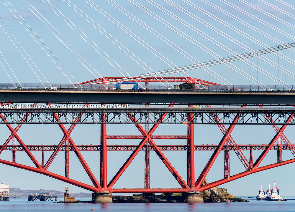 Daytime view of the three major bridges crossing the Firth of Forth at South Queensferry; Queensferry Crossing, North Road Bridge and the Forth Bridge ( rail) , Scotland, United Kingdom.
