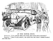 """At the Motor Show. Salesman. """"I'm afraid this one will run into four-figures."""" Inquirer. """"That's all right; My last one did that — three human and one pig."""""""