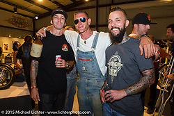 Custom builders Johnny Branch and Jordan Dickinson with Reality TV Moonshiner Josh Owens at the Naked Truth exhibition's industry party at the Buffalo Chip gallery during the 75th Annual Sturgis Black Hills Motorcycle Rally.  SD, USA.  August 5, 2015.  Photography ©2015 Michael Lichter.